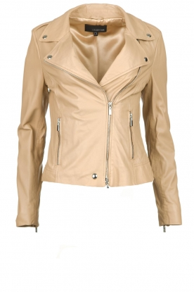 STUDIO AR BY ARMA | Leather biker jacket Lois | beige