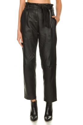 STUDIO AR BY ARMA |  Leather paperbag pants Claire | black