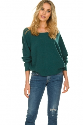 American Vintage |  Sweater with boat neckline Damsville | green