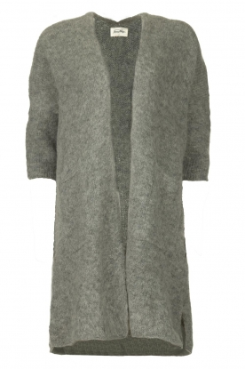 American Vintage |  Long cardigan from wool blend Vacaville | grey