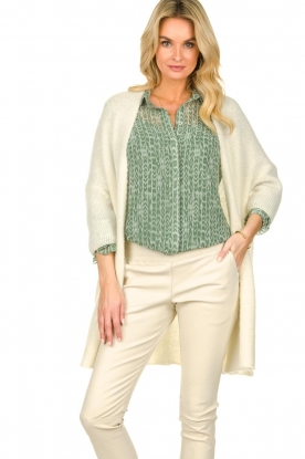 American Vintage |  Long cardigan from wool blend Vacaville | natural