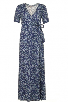 Freebird |  Maxi wrap dress with flower print Lilliana | blue