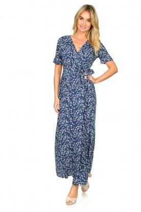 Freebird |  Maxi wrap dress with flower print Lilliana | blue