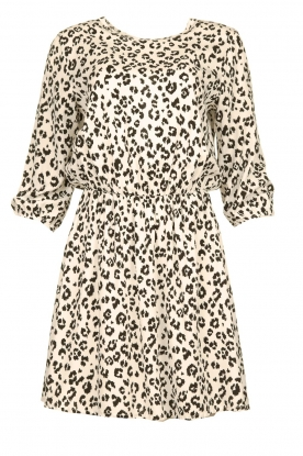 Freebird |  Dress with leopard print Minne | zwart