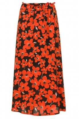 Freebird |  Midi skirt with colorful flower print Willa | red