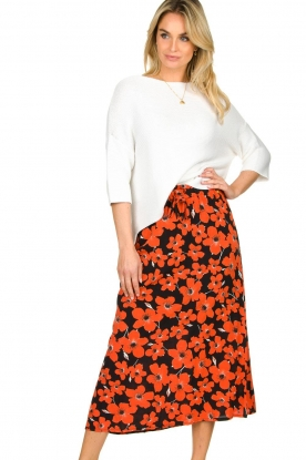 Freebird |  Floral midi skirt Willa | red