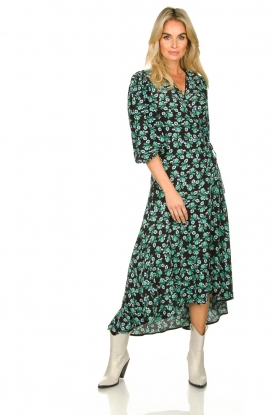Freebird |  Maxi wrap dress with flower print Belia | green