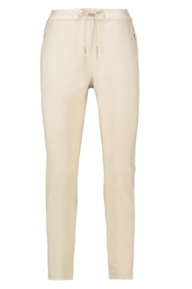 Aaiko |  Trousers with lurex stripes Poppi | off-white
