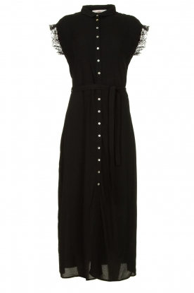 Aaiko | Button down dress with lace details Nika | black