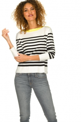 Aaiko |  Striped sweater Beyza | white