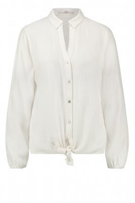 Aaiko |  Front knot blouse with croco pattern Roza | white