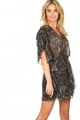 IRO | Print jurk met lurex Buoux | zwart