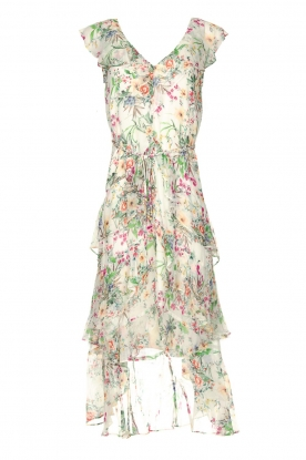 Hale Bob |  Floral printed dress with ruffles Georgette | naturel