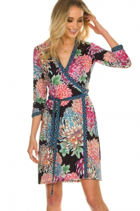 Hale Bob |  Floral printed wrap dress Chelsey | black