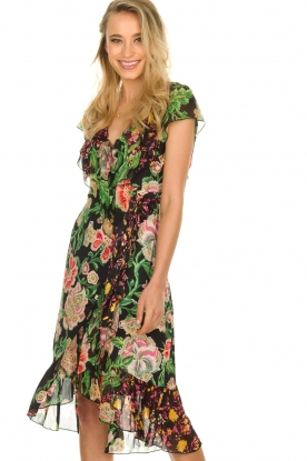 Hale Bob |  Floral printed wrap dress Juliette | black
