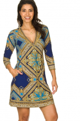 Hale Bob |  Microfibre dress Renaissance  | blue