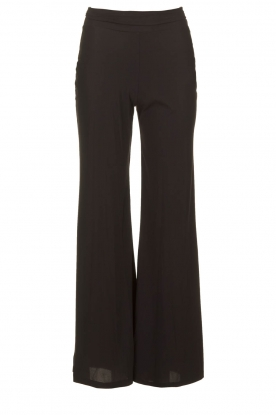 D-ETOILES CASIOPE |  Flared wrinkle-free stretch trousers Tabasco | black