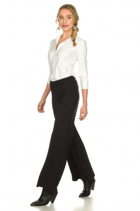 Look Flared wrinkle-free stretch trousers Tabasco