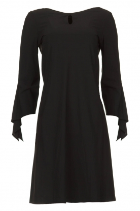 D-ETOILES CASIOPE |  Wrinkle-free stretch dress with sleeve details Therese | black