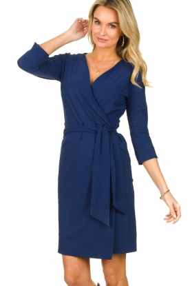 D-ETOILES CASIOPE |  Travelwear dress with wrap effect Teint | blue