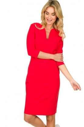 D-ETOILES CASIOPE |  Wrinkle-free stretch dress Trento | red