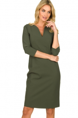 D-ETOILES CASIOPE |  Wrinkle-free stretch dress Trento | green