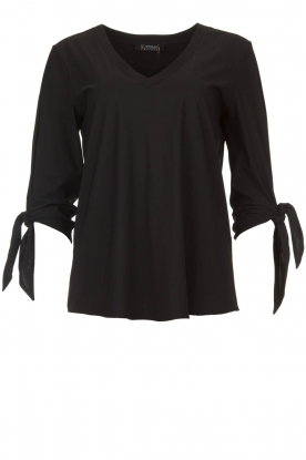 D-ETOILES CASIOPE |  Wrinkle-free stretch top with detailed sleeves Terre | black