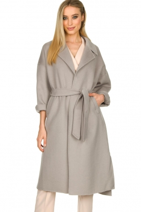 Clairval |  Super soft wrap coat Lou | grey