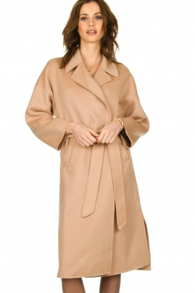 Clairval |  Super soft wrap coat Lou | camel