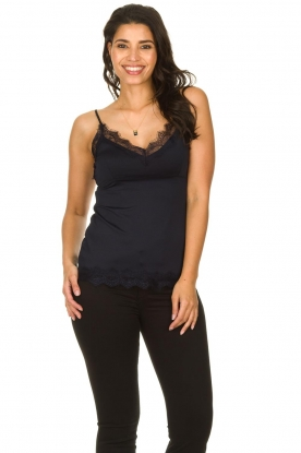 Set |  Cami with lace Chenna | dark blue