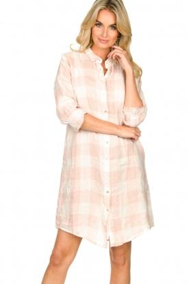 JC Sophie | Linnen blousejurk met ruitjesprint Delhi | nude