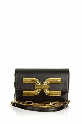 ELISABETTA FRANCHI |  Shoulder bag with golden logo Christy | black