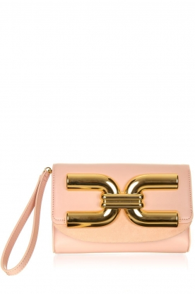 ELISABETTA FRANCHI | Clutch with golden logo Lizzy | pink