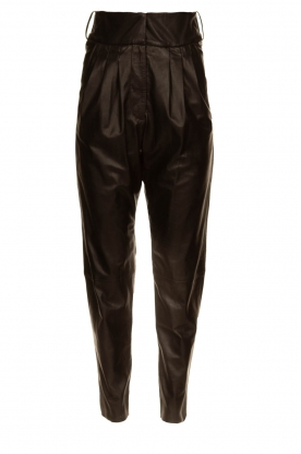 Ibana |  Non stretch pleated pants | black