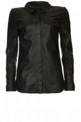 Ibana |  Leather blouse Mies | black