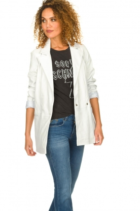 Ibana |  Leather blazer Novie | white