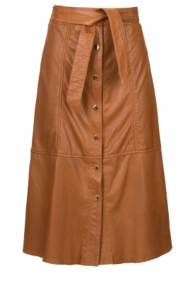 Ibana |  Leather midi skirt with belt Flo | camel