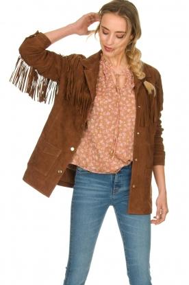 Ibana |  Suede fringe jacket Geisha | camel