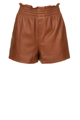 Ibana |  Brown leather short Feast | camel