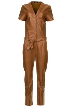 Ibana |  Leather jumpsuit Tamar | camel