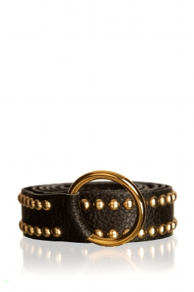 Depeche | Leather belt with studs Mila | black