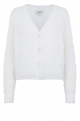 Second Female |  Buttoned cardigan Palm | white