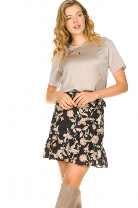 Second Female |  Floral wrap skirt Neo | black