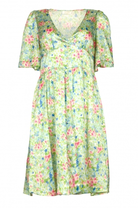 Notes Du Nord | Silk floral dress Odeon | green