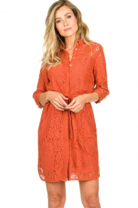 Aaiko |  Lace dress Ladinia leafs| orange