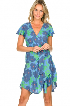 Genesis |  Floral wrap dress Aiko | blue