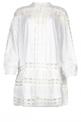 Devotion |  Cotton dress with embroidery details Christina | white
