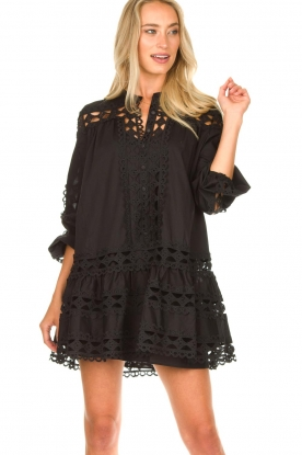 Devotion |  Cotton dress with embroidery details Christina | black