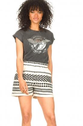 Sofie Schnoor |  Cotton shorts with aztec print Louie | black