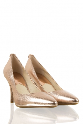 Leather point-toe pump | rose